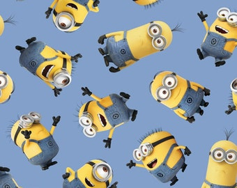Despicable Me - 1 in a Minion - Tossed Minions in Blue - Cotton Quilt Fabric - Quilting Treasures - 23990-B (W3193)