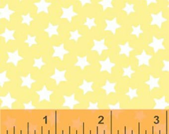 Windham Basic Pastels - Stars in Light Yellow / White - Pastel Basics Cotton Quilt Fabric Star - Windham Fabrics - 31641-15 (W4193)