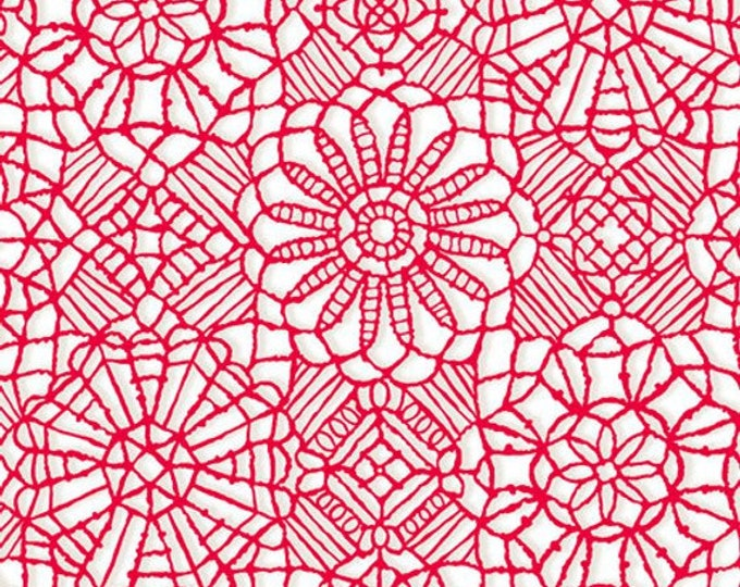 AMAZING LACE - Lace in White / Cherry Red - (Not Actual Lace!!) Cotton Quilt Fabric - Quilting Treasures Fabrics - 24632-ZR (W5236)
