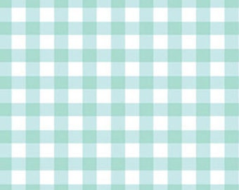 "21"" REMNANT Sweetie Pie - Big Check in Aqua Blue and White - Gingham Cotton Quilt Fabric - Benartex Fabrics - 3653-05 (W2840)"