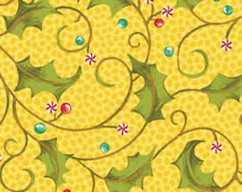 SALE!! Nancy's Holiday Favorites - Holly Mints in Golden Yellow Cotton Quilt Fabric - by Nancy Halvorsen - Benartex Fabrics - 2365-30 (W348)