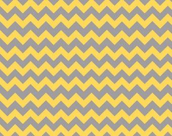 SMALL CHEVRON - Tone on Tone in Yellow and Gray - Grey Cotton Quilt Fabric - C400-11 - Riley Blake Designs Fabrics (W2493)