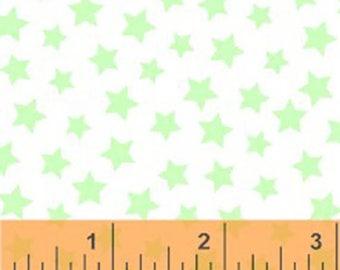 Windham Basic Pastels - Stars in Green / White - Pastel Basics Cotton Quilt Fabric Star - Windham Fabrics - 31641-13 (W4191)