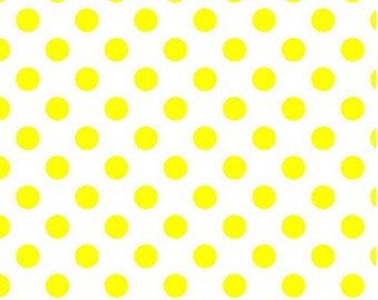 Fat Quarter NEONS - Medium Neon Dots in Neon Yellow on White - Cotton Quilt Fabric - C490-103 - Riley Blake Designs (W2473)