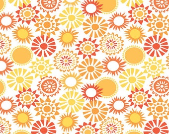 Sun-sational - Sun Kissed in Coral - Orange Pink Floral Cotton Quilt Fabric - by Maude Asbury for Blend Fabrics - 101.117.04.2 (W3346)