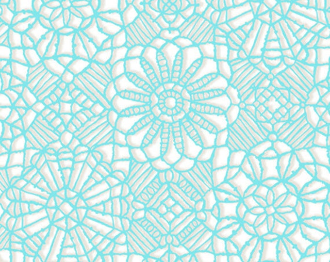 AMAZING LACE - Lace in White / Marine Blue - (Not Actual Lace!!) Cotton Quilt Fabric - Quilting Treasures Fabrics - 24632-ZQ (W5235)