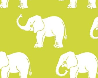"29"" REMNANT Trunk Show - Elephants in Green - Cotton Quilt Fabric - Another Point of View for Windham Fabrics (W1740)"