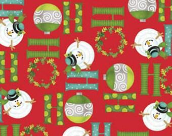 Half Yard Ho-Ho-Ho Let It Snow - Ho-Ho-Ho in Red - Christmas Holiday Cotton Fabric Line Designed by Nancy Halvorsen for Benartex (W980)