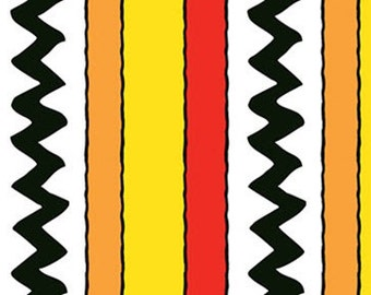 Half Yard Camp Peanuts - Stripe in Yellow / Red - Charlie Brown Cotton Quilt Fabric - Quilting Treasures - 22534-SR (W3152)