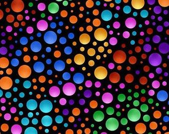 CARNIVALE - Dots in Black / Multi - Green Orange Red Dot Cotton Quilt Fabric - Debi Payne - Quilting Treasures Fabrics - 26374-JX (W5058)