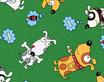 SALE!! In The Dog House - Day Dreaming in Green - Cute Puppy Cotton Quilt Fabric - by Kanvas - Benartex Fabrics - 5878-44 (W187)