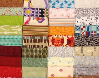 SUPER CLEARANCE!! Variety Fat Quarter Bundle - 40 Different Prints - Warm Kitty Quilts EXCLUSIVE - Cotton Quilt Fabric (W3098)