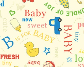 """14"""" REMNANT Baby Talk - Sentiments in Primary Colors - Adorable Baby Nursery Cotton Quilt Fabric - Benartex Fabrics - 4231-55 (W2400)"""