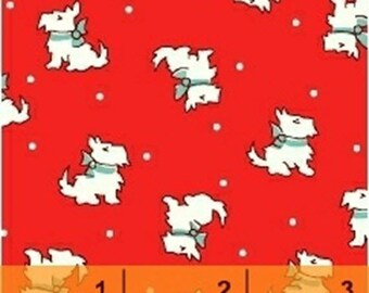 Storybook Christmas - Scotties in Red - Cotton Quilt Fabric - Scottish Terriers - Whistler Studios - Windham Fabrics - 41747-3 (W4250)
