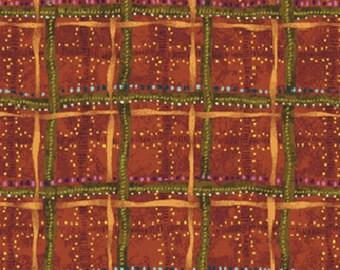 BITTERSWEET - Cross Roads in Russet - Rust Brown Cotton Quilt Fabric - Designed by Nancy Halvorsen for Benartex Fabrics - 2097-22 (W946)