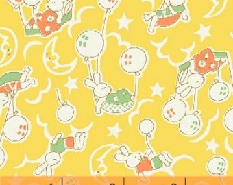 Storybook Playtime - Sleepy Bunnies in Yellow - Cotton Bunny Quilt Fabric - by Whistler Studios for Windham Fabrics - 39302-2 (W3386)