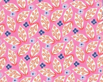 VOYAGE - Jambi Leaves in Mandarin Orange - Blue Pink Leaf Floral Cotton Quilt Fabric - 27282-16 - Kate Spain for Moda Fabrics (W4494)