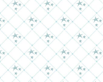 SHINE BRIGHT - Diagonal Stars Check in Aqua Blue - Teal Cotton Quilt Fabric - Stacey Yacula for Quilting Treasures Fabrics - 24288-Q (W4070)