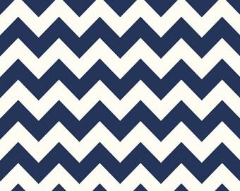 LE CREME CHEVRON - Medium Chevron on Cream in Navy Blue - Cotton Quilt Fabric - C640-21 - Riley Blake Designs Fabrics (W2458)