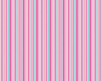 LOVEY DOVEY - Stripes in Pink - Blue Stripe Cotton Quilt Fabric - C3656-PINK - by Doodlebug Designs for Riley Blake Designs (W2514)