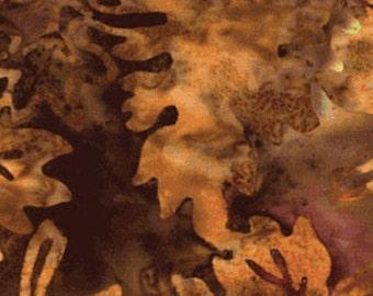SALE!!  Season's Balis - Falling Leaves in Natural Brown - Cotton Batik Cotton Quilt Fabric - Benartex Fabrics - SKU 1972-71 (W1071)
