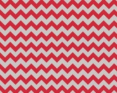 34 quot Remnant SMALL CHEVRON Holiday and School Color - Red Gray - Stripe Cotton Quilt Fabric - C400-04 - Riley Blake Designs Fabrics (W3324)