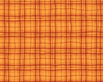 MORE of This 'N That  - Lattice in Mango Orange - Plaid Tartan Cotton Quilt Fabric - Nancy Halvorsen for Benartex Fabrics - 868-22 (w1943)