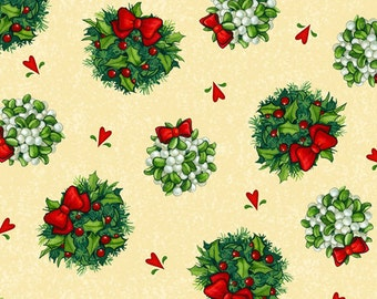 One Yard Kissmas Eve - Mistletoe Toss in Cream - Christmas Fabric Line by Janet Stever for Quilting Treasures - Cotton Quilt Fabric (W1885)