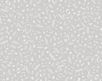 QUILTING ILLUSIONS - Musical Notes in Gray - Grey Blender Cotton Quilt Fabric - Music Kids - Quilting Treasures Fabrics - 26761-K (W4898)
