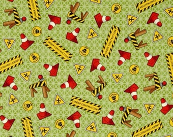 ROAD WORK - Hasbro Tonka Truck - Traffic Cones in Green - Cotton Quilt Fabric - Quilting Treasures Fabrics- 24050-G (W4076)