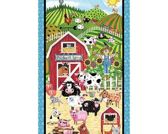 PATCHWORK FARMS - Barnyard PANEL in Multi - Cotton Quilt Fabric - Desiree Designs for Quilting Treasures Fabrics - 26107-X (W4542)