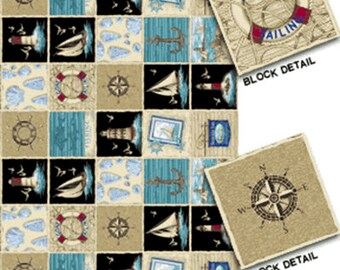SUPER CLEARANCE!! By The Sea Panel in Black - Nautical - Cotton Quilt Fabric from Benartex Fabrics (W1608)