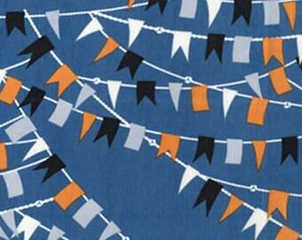 SUPER CLEARANCE! One Yard Cabana - Nautical Flags in Slate Blue - Cotton Quilt Fabric - by Kanvas - Benartex Fabrics 5974-50 (W2846)