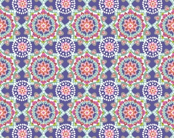 SUPER CLEARANCE! One Yard Paisleigh Starburst in Regal Blue Cotton Quilt Fabric - Maude Asbury for Blend Fabrics - Paisley Design (W411)