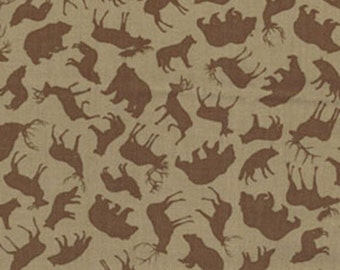 North by Northwest - Forest Animals in Taupe - Cotton Bear Deer Fox Quilt Fabric - by Kanvas Studios for Benartex Fabrics - 5756-77 (W1643)