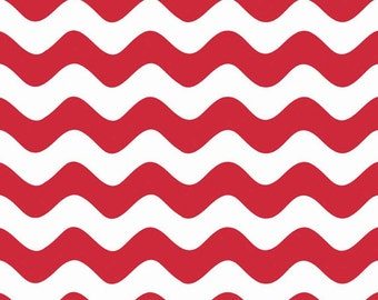 One Yard Wave REMNANT with SNAG Defect - Waves in Red - Cotton Quilt Fabric - RBD Designers for Riley Blake Designs - C415-80 (W3293)
