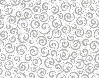 METALS - Scrolls in Metallic Silver on White - Cotton Swirl Swirls Scroll Quilt Fabric - Quilting Treasures Fabrics - 23538-ZK (W4848)