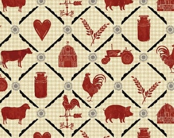 Farm to Table - Animal Grid in Cream - Red Chicken Rooster Barn Cotton Quilt Fabric - Whistler Studios for Windham Fabrics - 41800-2 (W4272)