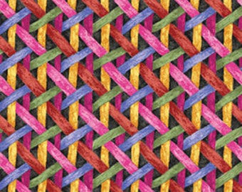Half Yard Somerset - Woven Ribbons in Black and Multi - Cotton Quilt Fabric - by E. Vive for Benartex Fabrics - 3883-66 (W2553)