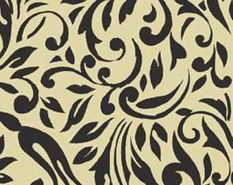 SUPER CLEARANCE! One Yard My True Love Gave to Me - Damask in Linen and Black Cotton Quilt Fabric -Erin McAllister - Benartex Fabrics (W380)
