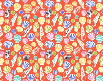 Sun-sational - Beachcomber in Coral - Orange Blue Green Sea Shells Cotton Quilt Fabric - Maude Asbury - Blend Fabrics - 101.117.02.2 (W3337)