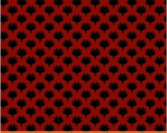 SUPER CLEARANCE! 1/2 Yard REMNANT Fan Leaf in Red - Crazy For Shelburne Cotton Quilt Fabric - Windham Fabrics (W463)
