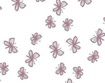 Stella - Faril Butterflies in Mauve - Butterfly Cotton Quilt Fabric - by Lotta Jansdotter for Windham Fabrics - 40690-1 (W4195)