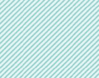 CURIOSITIES - Diagonal Stripe in Aqua Sea Blue - Little Girl Cotton Quilt Fabric - Nancy Halvorsen for Benartex Fabrics - 2873-5 (W906)