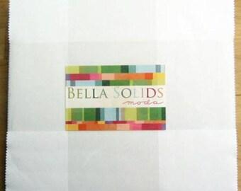 """BELLA SOLIDS Layer Cake in White - Solid Precut Cotton Quilt Fabric - Moda Fabrics - (42) 10"""" x 10"""" squares - 9900LC-98 (W4389)"""