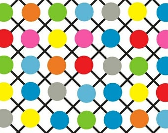 Dot Com or .Com - Grid Dot in White - Rainbow Polka Dot Cotton Quilt Fabric - by Whistler Studios for Windham Fabrics - 35995-7 (W1241)