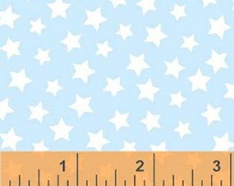 Windham Basic Brights - Stars in Light Blue - Pastel Basics Baby Blue Cotton Quilt Fabric - Windham Fabrics - 31641-14 (W4192)