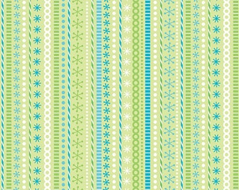 SUPER CLEARANCE!! - One Yard Santa's Workshop Stripe in Green - Christmas Fabric by Doodlebug Designs for Riley Blake Fabrics - C2973 (W46)