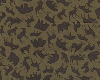 North by Northwest - Forest Animals in Olive Green - Bear Elk Cotton Quilt Fabric - by Kanvas Studios for Benartex Fabrics - 5756-48 (W1642)