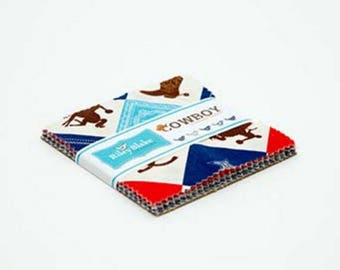 COWBOY - 5 Inch Stackers - 42 pc Cotton Quilt Fabric Squares - 5-5630-42 - Samantha Walker for Riley Blake Designs Fabrics (W4336)